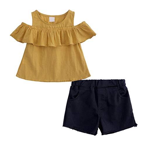 LHWY Kinder Mädchen Strampler Kleinkind Kids Baby Girl Schwester Kostüm Rüschen Schulterfrei Tops + Feste Shorts Hosen Outfits Set (Kostüm Schwestern)