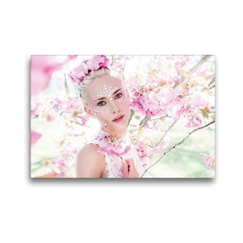 Frühlingsfee Kind Kostüm - Calvendo Premium Textil-Leinwand 45 cm x 30 cm quer, Frühlingsfee | Wandbild, Bild auf Keilrahmen, Fertigbild auf echter Leinwand, Leinwanddruck Menschen Menschen