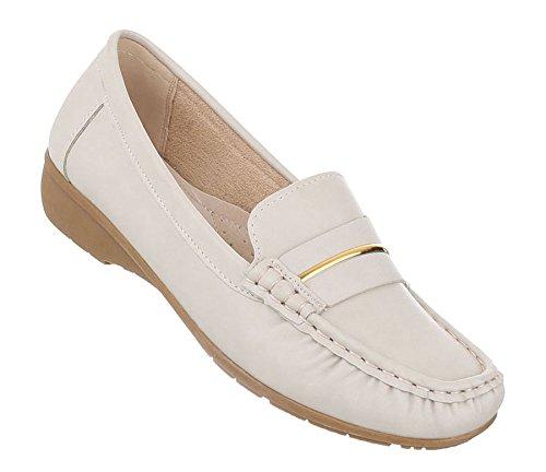 Damen Mokassins Schuhe Slipper Loafers Moderne Creme