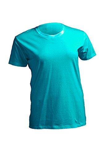 Damen Curves T-Shirt Lady Damenshirt Sommershirt Oversize Plussize Plus Size Unicorn Einhorn cutie Sei immer du selbst Türkis