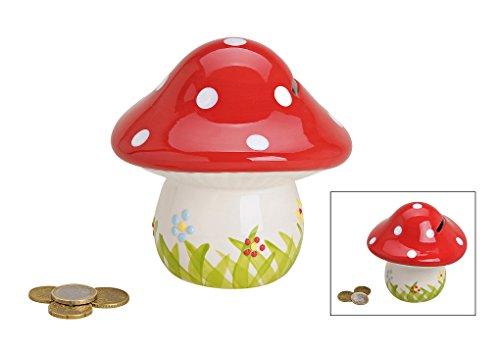 Glücks-Pilz Spardose für Kinder & Erwachsene in Rot, 13x13 cm   Große Sparbüchse aus Keramik / Porzellan mit Schlüssel und Schloss   Sparschwein abschließbar, schöne Deko-Figur zum Geld sparen