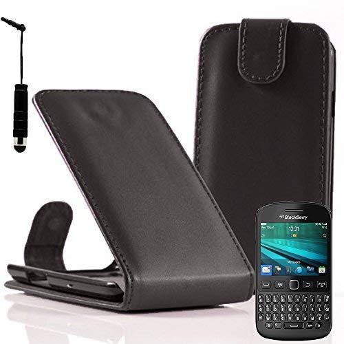 VCOMP Hülle Cover Etui klappbar in Kunstleder für BlackBerry 9720/9720 Samoa - schwarz + Mini-Eingabestift