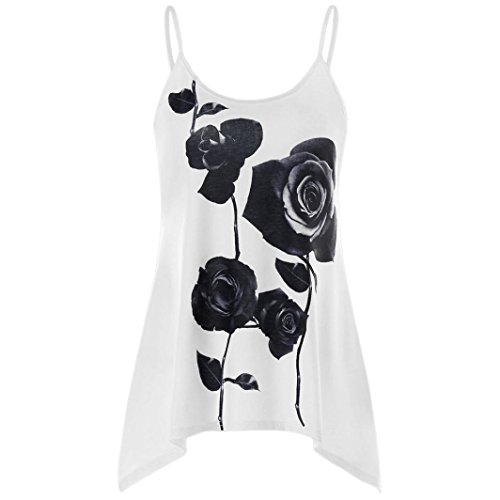 QUINTRA Fashion Womens Casual Rose Floral Print Spaghetti Strap Tank Tops Camisole Vest