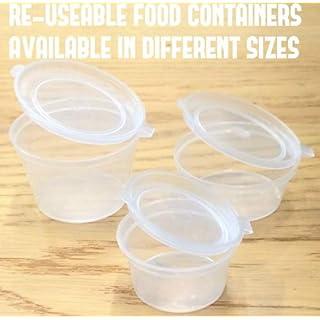 Transparente Mehrzweck-Behälter mit Klappdeckel, wiederverwendbare, klare Soßenbehälter aus Kunststoff, in verschiedenen Größen erhältlich, plastik, durchsichtig, 1 oz (30 ml approx)