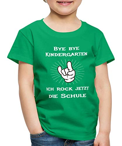 Spreadshirt Bye Bye Kindergarten Ich Rock Die Schule Kinder Premium T-Shirt, 134/140 (8 Jahre), Kelly Green