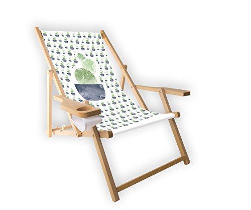 MultiBrands Holz-Liegestuhl, mit Armlehne und Getränkehalter, klappbar, Motiv Kaktus