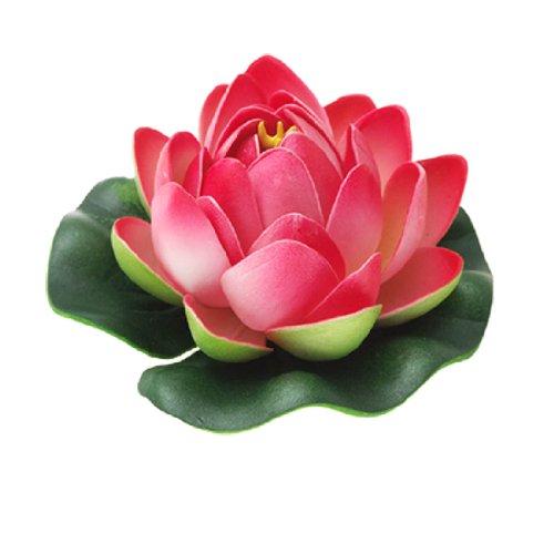 sourcingmap-decoration-daquarium-lotus-flottant-en-mousse-rouge