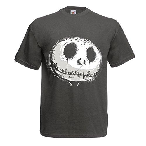 Männer T-Shirt beängstigend Schädel Gesicht - Alptraum - Halloween-Party-Kleidung (Small Graphit Mehrfarben)