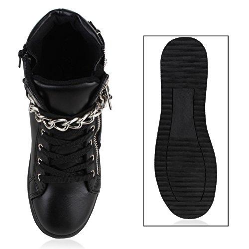 Damen Sneakers High Ketten Zipper Animal Print Schwarz Silber
