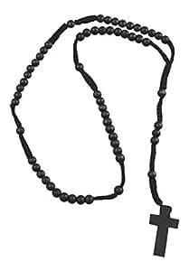 Noir Bois chapelet perle Collier avec croix de bois