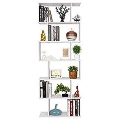 Idea Regalo - Homfa Scaffale Libreria Mobile Soggiorno in Legno Mobile per Archiviazion Carico 30 kg 70 × 23.5 × 190.5cm (Bianco)
