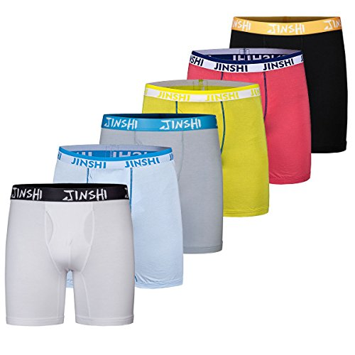 JINSHI Bamboo Underwear Long Boxer Briefs For Mens