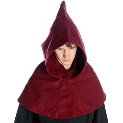 HEMAD Capucha Medieval - Fieltro de lana – Rojo