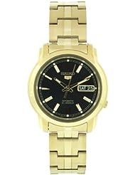 Gold Tone Seiko 5 Automatic Black Dial Link Bracelet