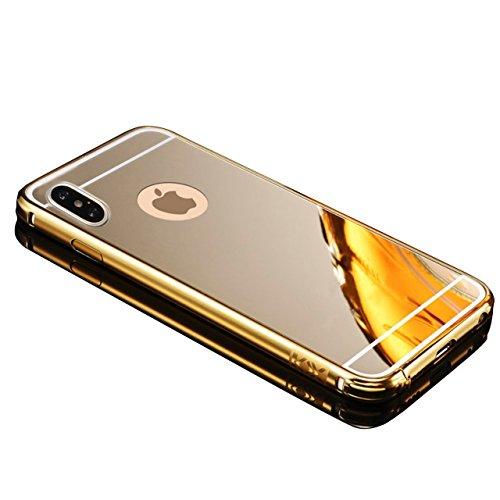 Cover iphone X, Sunroyal Lusso Shock-Absorption Bumper e Anti-Scratch Custodia in Alluminio PC Acrilico in Metallo Specchio Back Case protettiva shell per Apple iphone X 5.8 - Nero Modello 03