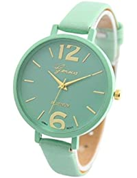 Relojes Pulsera Mujer,Xinan Ginebra Imitación Cuero de Cuarzo Analógico Relojes (Menta Verde)