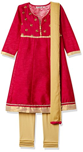 Karigari Girls' A-line Regular Fit Cotton Salwar Suit Set (272329635 ASSORTED 09Y)