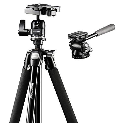 Mantona Scout Panorama Set mit Scout Dreibeinstativ inkl. Kugelkopf mit Schnellwechselplatte und Videoneiger Pan 360 für flüssige Videoaufnahmen