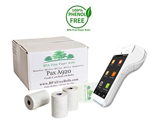 Pax A920 - Rollos tarjetas crédito sin BPA 50 rollos
