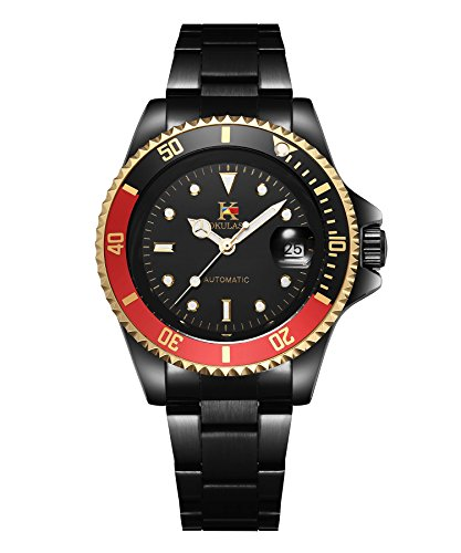 AOKULASIC Mens Automatic Mechanical Stainless Steel Watch with 100Ft Waterproof and Classic Date Displayer. (Red Black)
