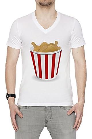 Frit Poulet Homme T-Shirt V-Col Blanc Manches Courtes Taille M