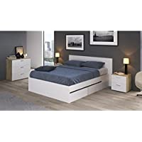 Movian -  Cadre de lit double 4tiroirs Belaya Modern, 194,4 x 144,8 x 39,4, Blanc