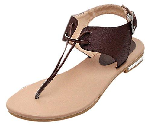 Y-BOA 1 Paire Sandales Plates Entredoigts Femme Nu-Pieds Cheville Similicuir Souple Chaussures Été Marron