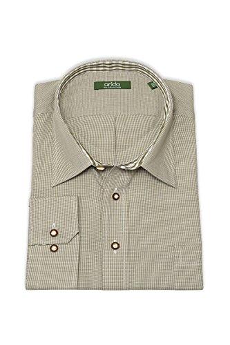 arido Herren Trachtenhemd langarm XXL oliv Kleinkaro 112538, Größe 54