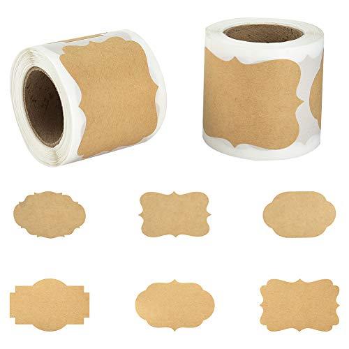 Irich 2 rulli 300 pezzi kraft marrone adesivi etichette di carta, sticker tag etichette rimovibili per bottiglie barattoli regalo scrapbooking (7,8 x 5 cm)