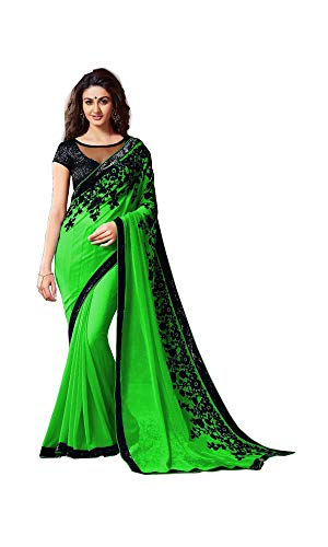 Bollywood Indian Party Wear Georgette Saree,Causal,Festival, Traditional Collection Sari,Birthday Dress, Function,indische Kleid,Hippie Kleid (Green) -