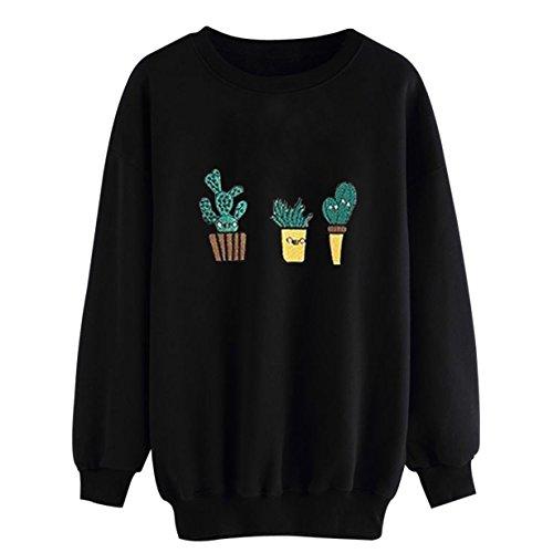 Yuan Frauen Kaktus Druck langes Hülsen beiläufiges Sweatshirt Pullover Tops Bluse (M, Schwarz) (Langarm Shirt Kleid Ralph Lauren)