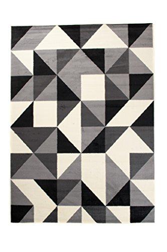 Art Deco Teppiche (Moderner Designer Teppich - Für Ihre Zuhause - Schwarz Grau Weiß - 80 x 150 cm - Geometrisches Muster -