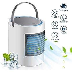 ZJWAI Climatiseur Portable Refroidisseur d'air Mobile Portable USB Ventilateur 3 en 1 Mini Climatiseur Humidificateur Purificateur 3 Vitesses 7 LED Couleurs pour Maison Bureau (Gray A)