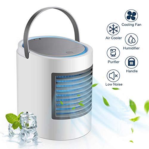 Zjwai mini raffreddatore d'aria climatizzatore portatile air cooler personali ventilatore usb 3 in 1 raffreddatore d'aria evaporativo umidificatore purificatore d'aria (gray a)