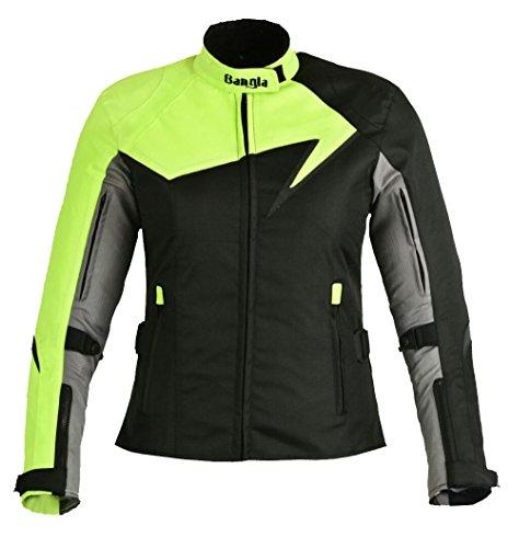 Modische Damen Motorradjacke Touren Jacke Bikerjacke Bangla B-11 Textil neon XXXL