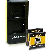 PATONA Dual Cargador con micro USB + 2x Batería NP-BN1 para Sony Cyber-shot DSC-J10 QX10 QX100 QX30 T110 T99 TF1 TX10 TX100V TX20 TX30 TX5 TX55 TX66 TX7 TX9 W310 W320 W330 W350 W360