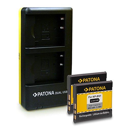 PATONA Dual Schnell-Ladegerät inkl. Micro-USB Kabel+ 2 x Akku NP-BN1 für Sony Cyber-Shot DSC-J10 QX10 QX100 QX30 T110 T99 TF1 TX10 TX100V TX20 TX30 TX5 TX55 TX66 TX7 TX9 W310 W320 W330 W350 W360