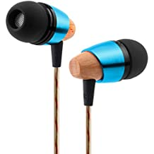 SoundPEATS B20 Auriculares con cables,Cascos de Madera Sonido estéreo de alta definición, bajos profundos para iPhone, iPod, iPad, Samsung Galaxy, MP3, etc (Azul)