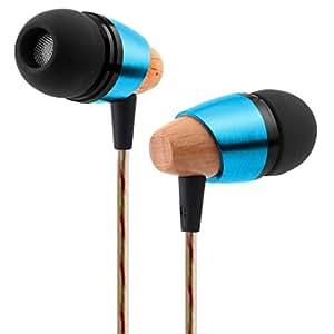 SoundPeats B20 Legno Orecchio Cuffie Auricolari, Legno, Metallo Orecchio Spina, Aspetto le Cuffie, Groviglio Libera, rumore di Isolare, Pesante Basso Profondo per Iphone, Ipod, Ipad, lettori Mp3, Samsung Galaxy etc (Blu)