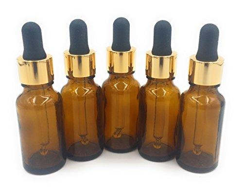 20ml flacone in vetro ambrato aromaterapia (confezione da 5) con premium colore oro vetro pipetta tappo. alta qualità vuote aromaterapia bottiglia, perfect per oli essenziali, profumo olio, misura viaggio.