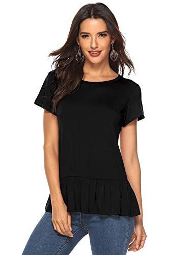 Rüschen Bluse T-shirt Top (Beluring Damen Kurzarmshirt mit Rüschen Blusen T-Shirt Casual Loose Fit Tops Freizeit Basic Oberteil Schwarz S)