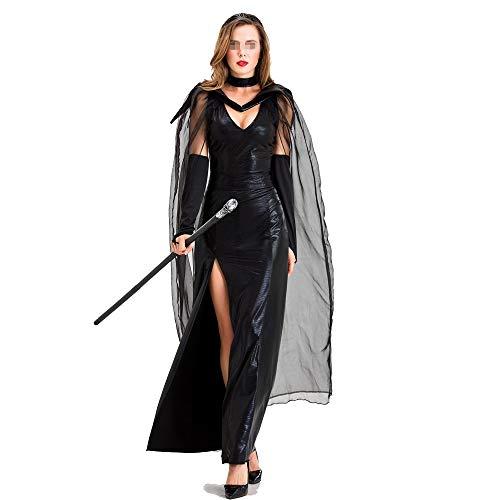 Bride Damen Ghost Kostüm Erwachsene Für - Jxth-Hal Halloween Kostüm für Damen Halloween Lady Kostüm Ghost Bride Adult Bar Party Langes Kleid Hexenkostüm Kostümparty Cosplay (Farbe : Schwarz, Größe : S)