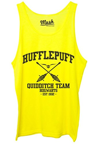 Canotta HUFFLEPUFF QUIDDITCH HARRY POTTER - FILM by Mush Dress Your Style Giallo Fluo