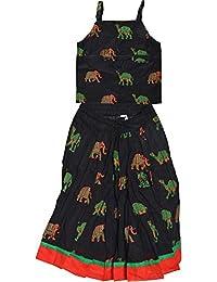 Decot Paradise Girls' Cotton Animal Print Lehenga Choli Suit (Black)