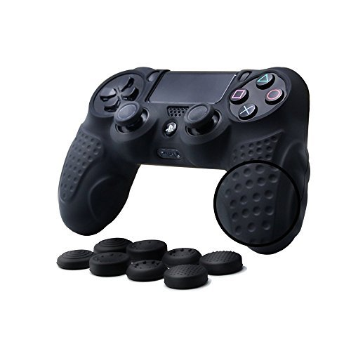 21 - CHIN FAI PS4 Funda para Cubrir el Mando de PS4 con 4 Grips para Pulgares, Funda Antideslizante de Silicona, Carcasa Protectora para Mando de Sony PS4 / Slim/Pro