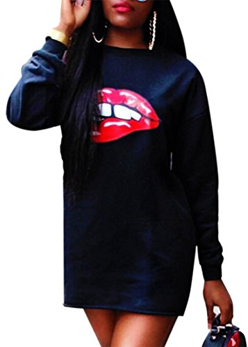 confit you - Damen Sweatshirt-Kleid mit Pailletten-Applikation Mund, S, Schwarz (Frauen Leggings Versandkostenfrei)