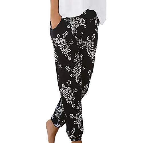 MOTOCO Frauen Hosen elastisch Bedruckt konisch Harem hohe Taille reguläre Hosen Harem Hosen Hippie Hosen Yoga für Frauen & Herren(2XL,Schwarz-3)