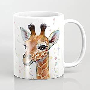 41dN6Ge6UiL. SS300  - Watercolored Giraffe Coffee Mugs 11 OZ for Birthday Gifts Christmas Gifts Wedding Gifts
