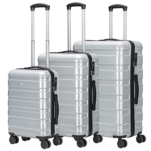 Amasava valigie rigide ABS+PC hard shell super leggero da viaggio Carry On trolley 4 ruote valigia, 55cm/40L,65cm/65L,75cm/101L (Argento, SET)