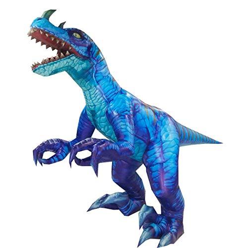 Happy Island Aufblasbares Tyrannosaurus-Kostüm Velociraptor Dinosaurier Erwachsene Halloween Rollenspiel-Spiel Verkleidung Cosplay Kleidung - blau - Large